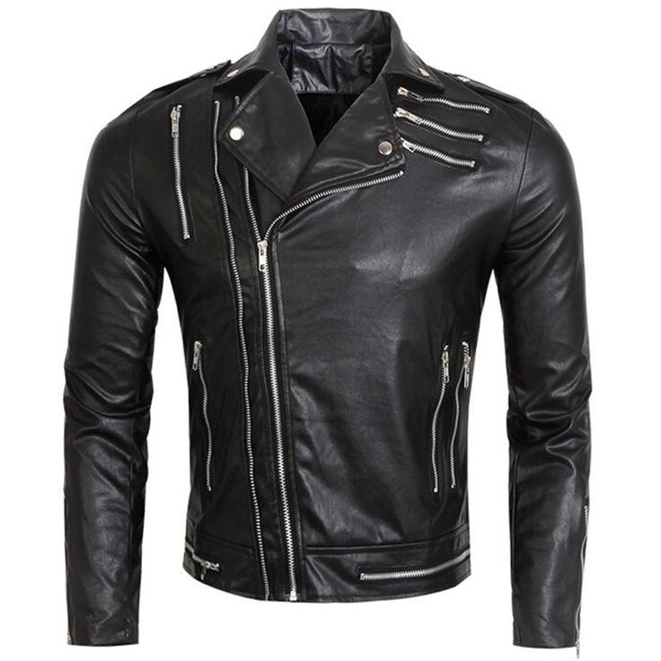 Multi Zipper Slim Fit Men Leather Biker Jackets Male Black Leather Jacket Men Motorcycle Pu Coat Fashion Rock Band