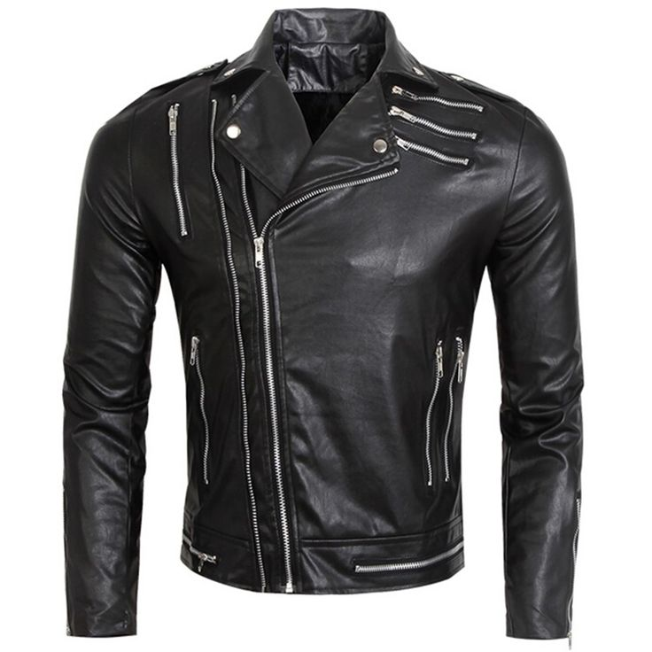Multi Zipper Slim Fit Men Leather Biker Jackets Male Black Leather Jacket Men Motorcycle Pu Coat Fashion Rock Band