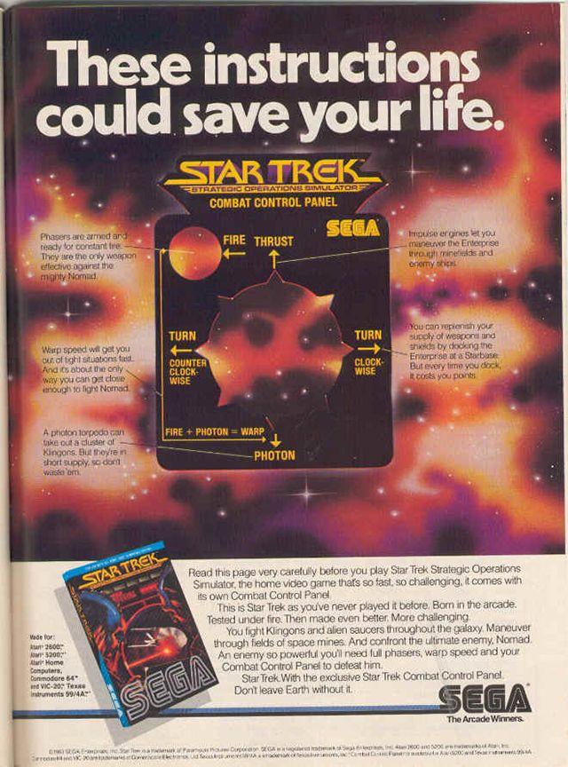 Star Trek game from Sega for the Atari 2600 Retro Gaming Ad #ads #retrogaming #oldschool
