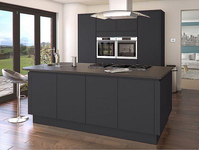 A Luca Graphite Handle-less Kitchen Design Idea - http://www.diy-kitchens.com/kitchens/luca-graphite/details/