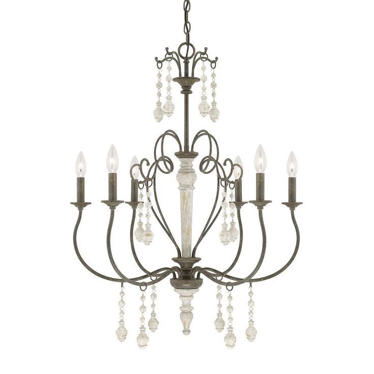 this sofia collection 6light chandelier features a beautifully hand painted french country finish that