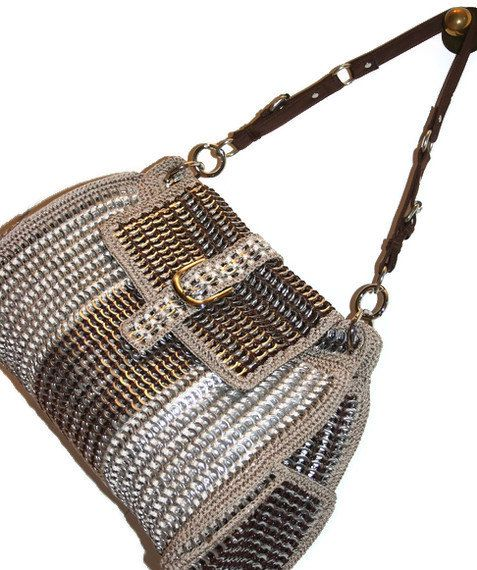 Diane - Large Tote Crochet Purse Made from Pop Tabs - Brown and Beige, Women, Vegan. $500.00, via Etsy.