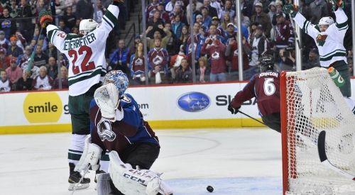 Nino Niederreiter nets the winner in OT to send Wild to second round. #Wild #Playoffs #NHL
