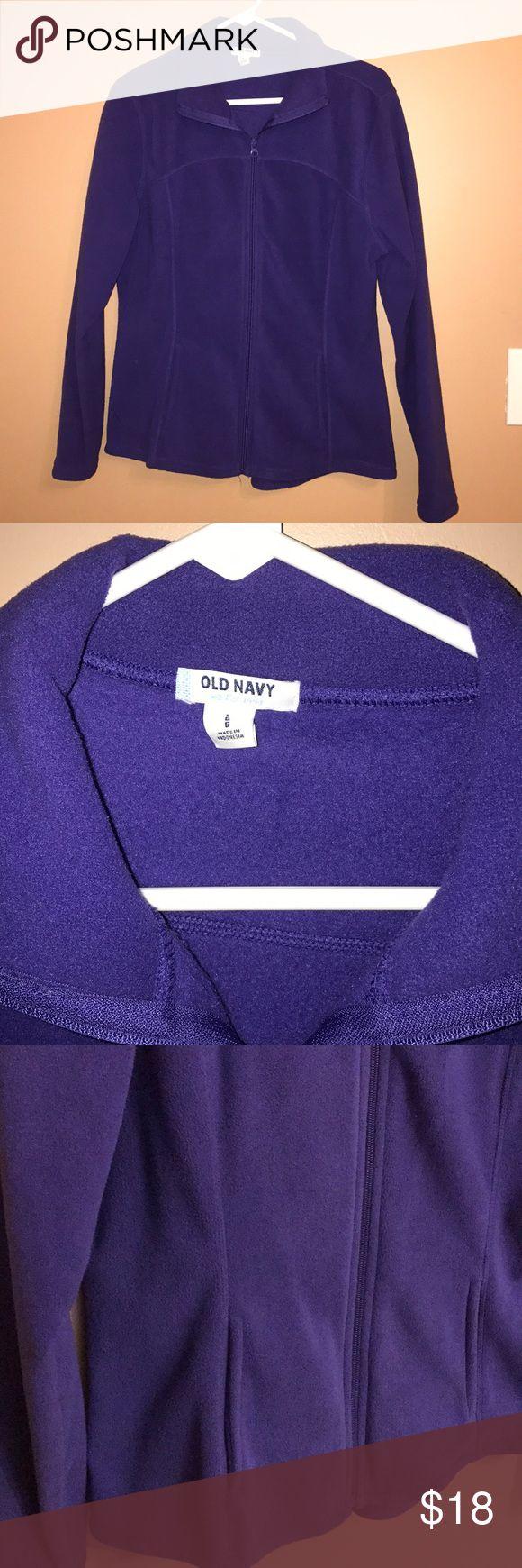 Purple fleece jacket, Large, Old Navy Light weight Old Navy full zip fleece. Dark purple. Large.   Smoke free, 🐶Friendly home. Old Navy Jackets & Coats