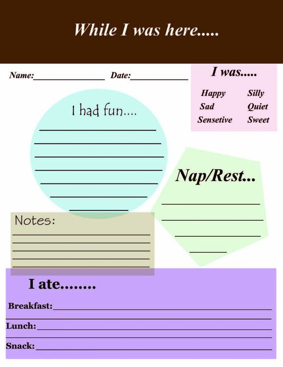 while I was here daycare form by PrettyTreats on Etsy, $10.00