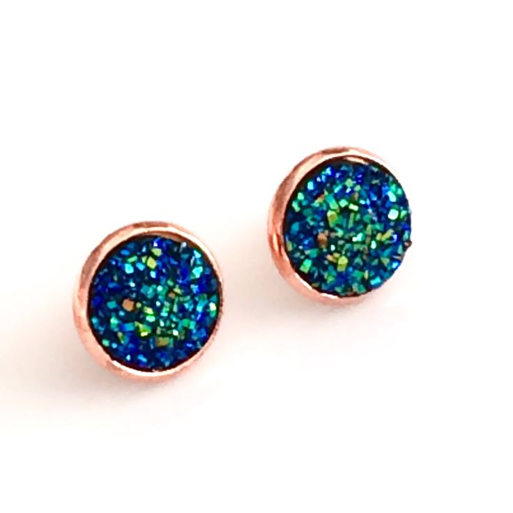 Blue Green Druzy earrings - Rose Gold plated - Blue Earrings - 12 mm - Faux Druzy Stud Earrings - stud earrings - bridesmaid gift Canada by AnisasClayCreations on Etsy https://www.etsy.com/ca/listing/530323214/blue-green-druzy-earrings-rose-gold