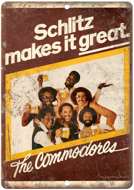 """Schlitz Beer The Commodores 10"""" x 7"""" Reproduction Metal Sign"""