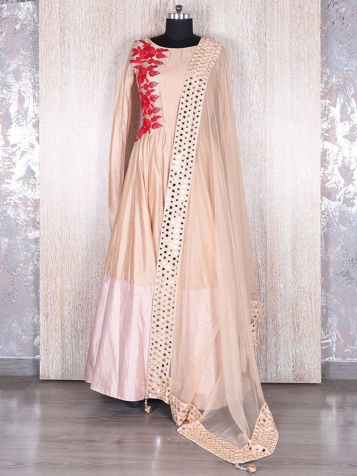 Cream Silk Classy Long Anarkali Suit