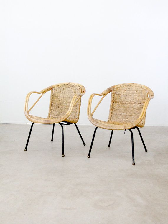 Mid Century Basket Chairs / 1960s bucket seat woven chairs / set of 2