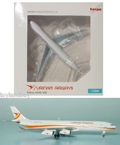 Vintage Manufacture 2650: Herpa 517645 Surinam Airways Airbus A340-300 1:500 Scale Reg#Pz-Tcp New In Box -> BUY IT NOW ONLY: $39.99 on eBay!