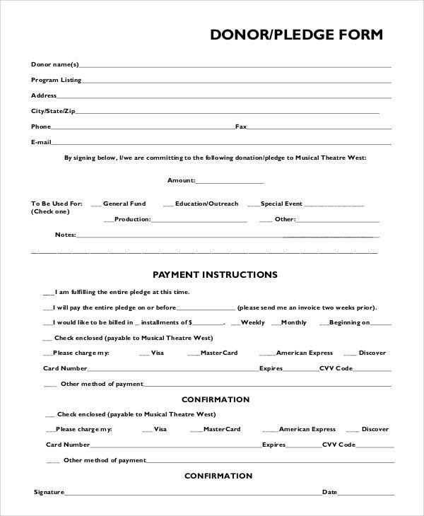 Donor Pledge Card Template In 2021 Donation Form Pledge Card Template