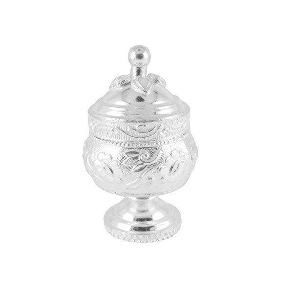 Jpearls Engraved Silver Kumkum Dabi | Pure Silver Articles for Puja