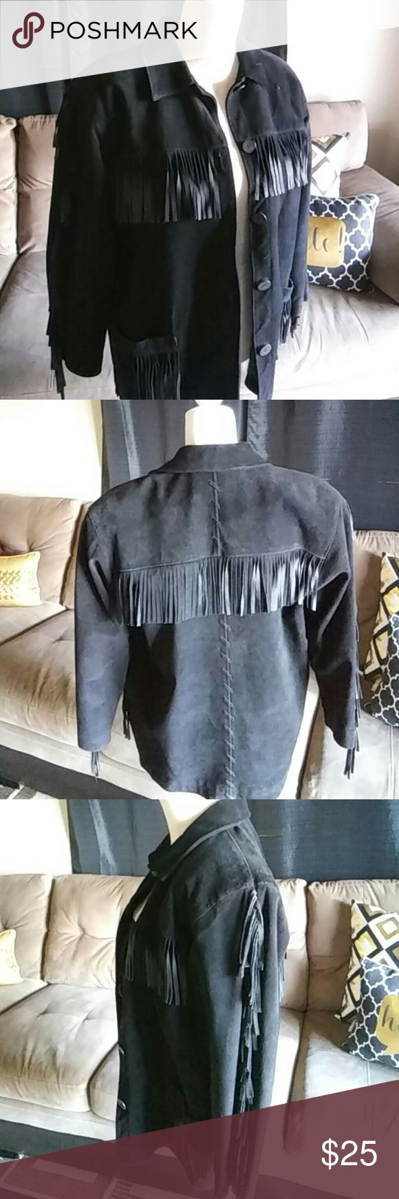Adrienne Vittadini Vintage Fringe leather Jacket Pre loved Adrienne Vittadini Vintage genuine leather Jacket RN#57675 signs of minor fading has two small holes on right upper side. Thank you (: Adrienne Vittadini Jackets & Coats