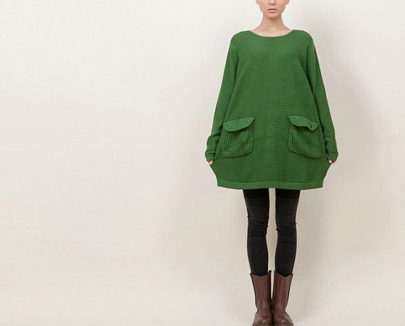 Green Knit Loose Fit Cotton Sweater Plus Size Women Sweater Pull Over Tshirt Sweater Long Sleeve Spring/Fall Sweater Size F