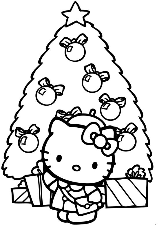 christmas hello kitty coloring page