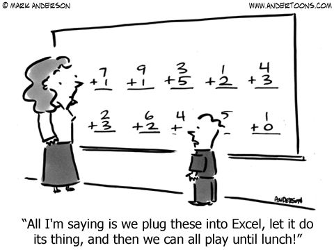 Computer Cartoon 6376: All I'm saying is we plug these into Excel, let it do its thing, and then we can all play until lunch!