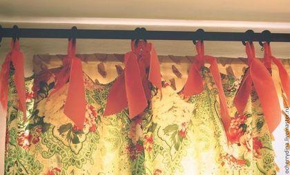 """Шторы """"Огурцы и розы"""" - шторы,пейсли,розы,зеленый,розовый,коралловый,шторы на завязках"""