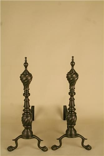 Virginia Metalcrafters hand cast solid brass andirons. (MSRP $1,105.00), Free Shipping