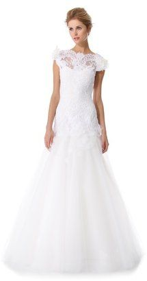 Marchesa Embroidered Layered Laces Gown Marchesa