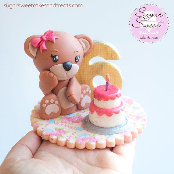 Picnic Blanket And Teddy Bear Fondant Cake Topper