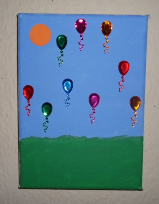 Ballon picture. Sky and grass is painted, the sun is a piece of cardboard and the balloons are stickers.