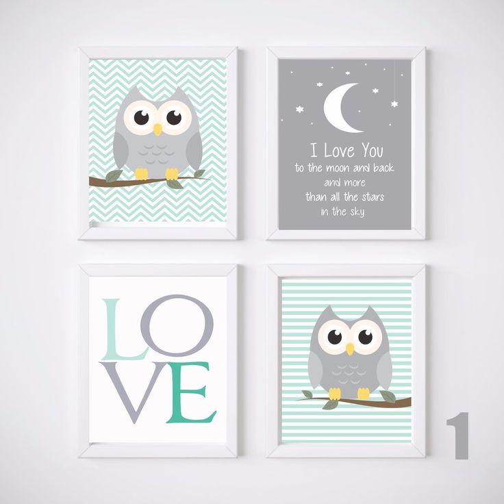 Owl Nursery Prints Wall Art Kids Room Decor, 4 A4 Set Baby Girl or Baby Boy