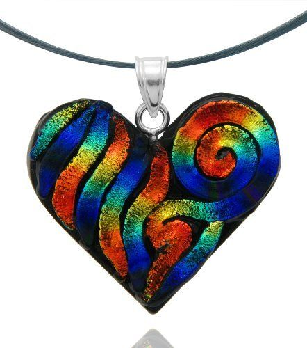 """Sterling Silver Dichroic Glass Red and Blue Swirl Heart-Shaped Pendant Necklace on Stainless Steel Wire, 18"""" Amazon Curated Collection. Save 23 Off!. $19.00"""