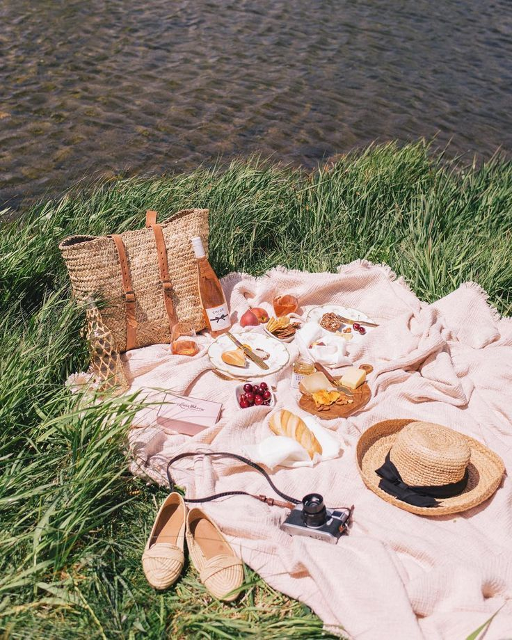 Picnic along the pond in the sunshine