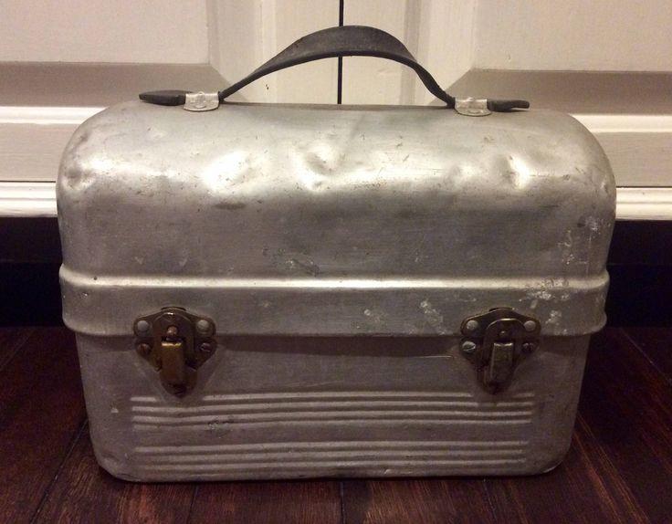 Vintage Domed Aluminum Sanit-Kit Lunch Box, Vintage Metal Lunch Box, Industrial Lunch Box, Lunchbox, Silver Lunchbox, Dome Lunch Box, Lunch by Lalecreations on Etsy