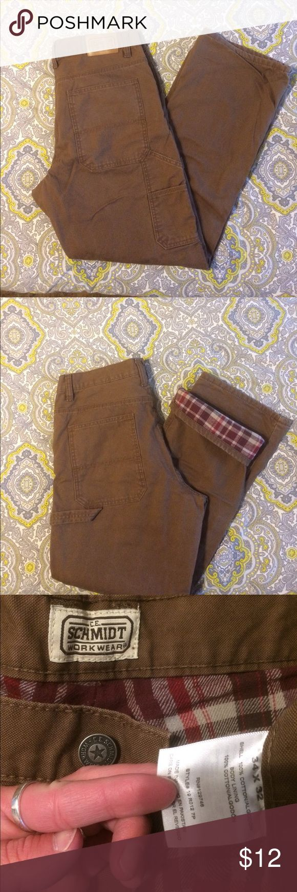 Men's utility carpenter work pants C.E. Schmidt brand. Brown utility carpenter pants. They have flannel lining in them! Like new! 34x32. Brown in color Pants
