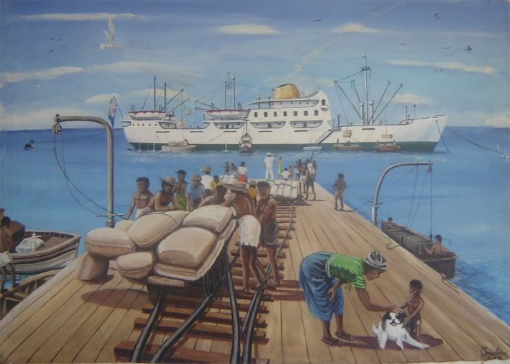 Embarking of copra. The painting illustrates the work of loading copra onboard the ship 'Mauritius' from a quai in Peros Banhos.