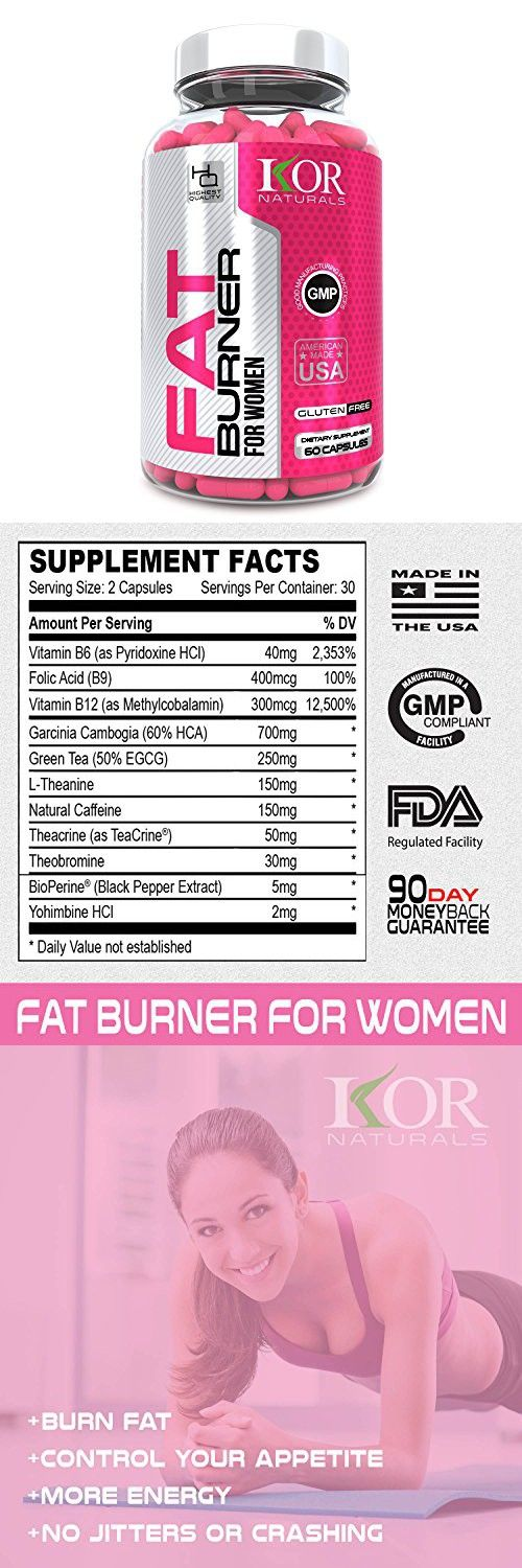 KOR - Thermogenic Fat Burner Pills for Women - Control Your Appetite & Burn Fat with our Weight Loss Diet Supplement - Guaranteed Results - 60 caps