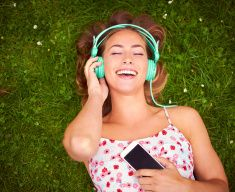 That song always makes her feel happy... stock photo
