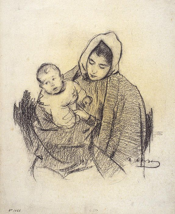 Woman And Child Ramon Casas
