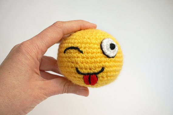 Emoji amigurumi. Tongue smiley from the set of the icons of Whatsapp by SilayayaColors