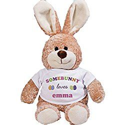 "Personalized Somebunny Loves Me Plush 12"" Easter Bunny with Pink Shirt Design"