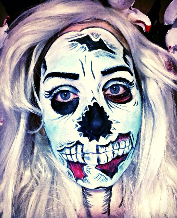 Cartoon Zombie makeup , takes some time but well worth it.