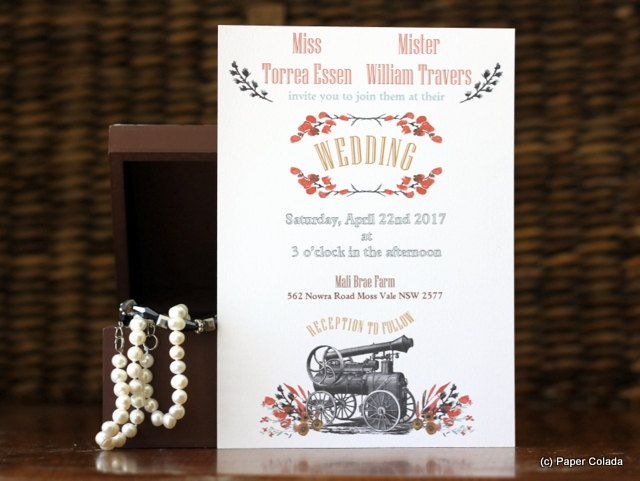 Rustic Vintage Wedding Invitation, Steam Punk Wedding Invitation, Rustic water color flowers invitation with Vintage Steam Train by PaperColada on Etsy