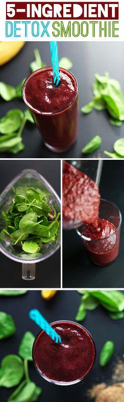 5 Ingredient Detox Smoothie! #vegan #glutenfree