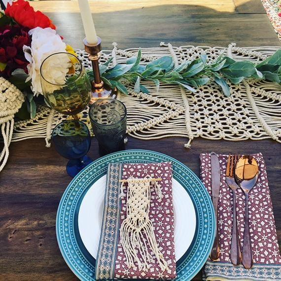 Macrame Napkin Holder, Napkin Ring, Wedding Favour, Table Decor, Boho Wedding, Bohemian Style, SET o