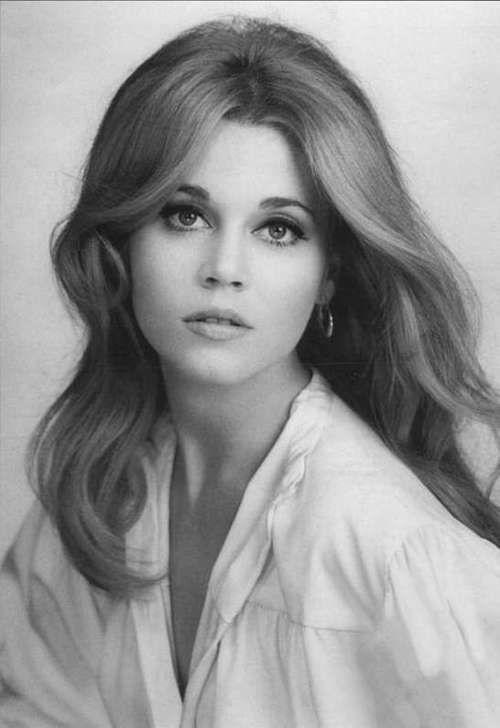 Young Jane Fonda in White Buttondown Blouse