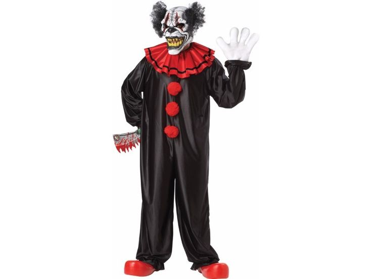 One of the scariest clowns you will ever see. Not for your child's birthday party! Animotion mask which enables wearer to bear teeth of the character, black jumpsuit with attached red collar with black stripe, and gloves. Weapon not included. One size fits most.