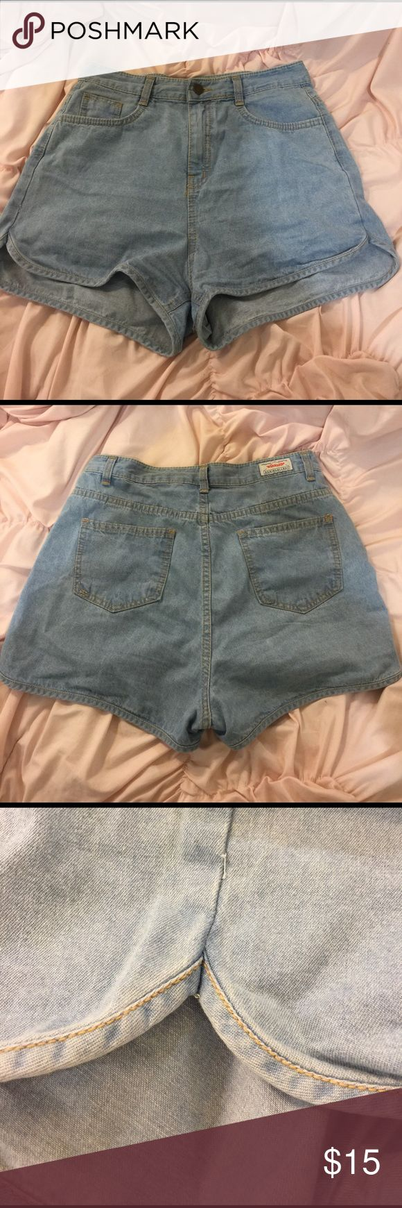 High Waist Light Denim Dolphin Shorts Worn Once. Brand is mixxmix which is a Korean online retailer. Sizes run smaller for Asian sizing so this is a size M even though the tag says L mixxmix Shorts Jean Shorts