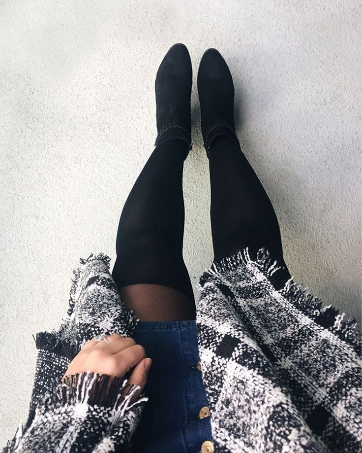 Tights that look like over the knee boots + big warm blanket scarf  // @asideofvogue - Instagram Blogger  #overtheknee #OTK #tights #blanketcarf #scarfseason