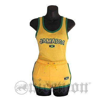 Jamaica Top & Shorts Set Jamaican Colors Reggae Wear Style Irie Kingston 1LOVE