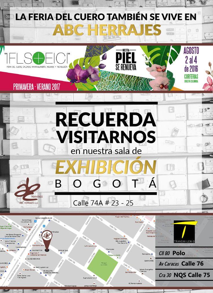 Recuerda visitar nuestra sala de exhibición! Del 2 al 4 de Agosto se realizara la Feria Internacional del Cuero #IFLS #IFLS2016, y ABCHerrajes te invita a que nos visites y aprecies nuestros productos y herrajes de alta calidad. Visítanos en: www.abcherrajes.com  #ABCherrajes #Marroquineria #Moda #cuero #fashion #Primavera2017 #Verano2017 #IFLS #EICI