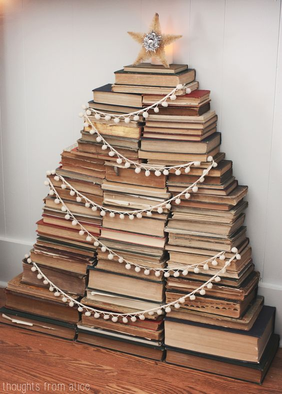 Thoughts from Alice: Holiday Home Tour 2014 - Vintage Stacked Book Christmas Tree in Mantel barefootstyling.com