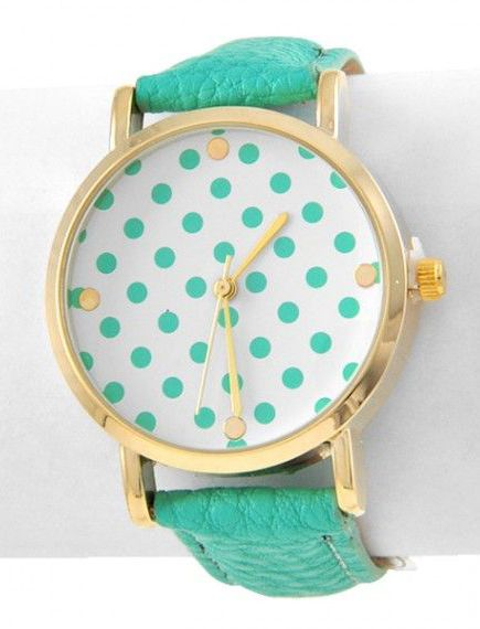 Mint Polka Dot Watch