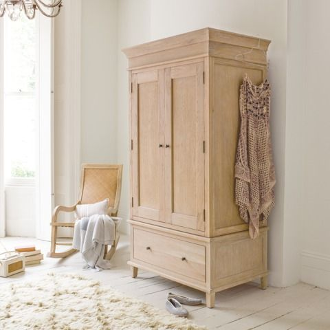 ATELIER WARDROBE Inspired by an old (and somewhat rickety!) armoire we saw in Brittany last summer, we've used solid weathered oak here which goes brilliantly with our French beds, Legacy chest of drawers and Sandie side table.