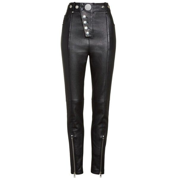 Women's Alexander Wang High Waist Leather Pants ($1,295) ❤ liked on Polyvore featuring pants, high-waisted pants, leather pants, high waisted trousers, high-waist trousers and high rise pants